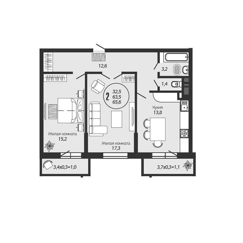 Планировка 3-к квартиры ЖК Премьера - Тип 3