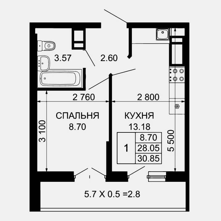 Планировка 1-к квартиры в ЖК Лучший Тип 2