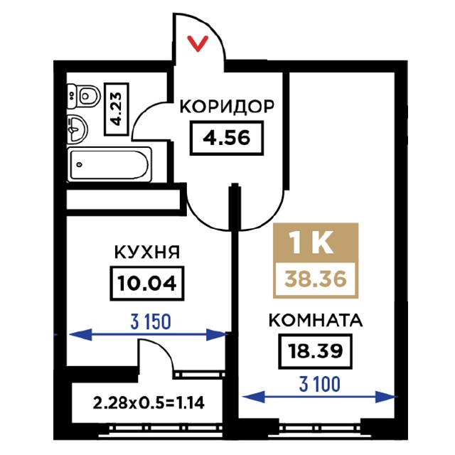 Планировка 1-к квартиры в ЖК Сердце