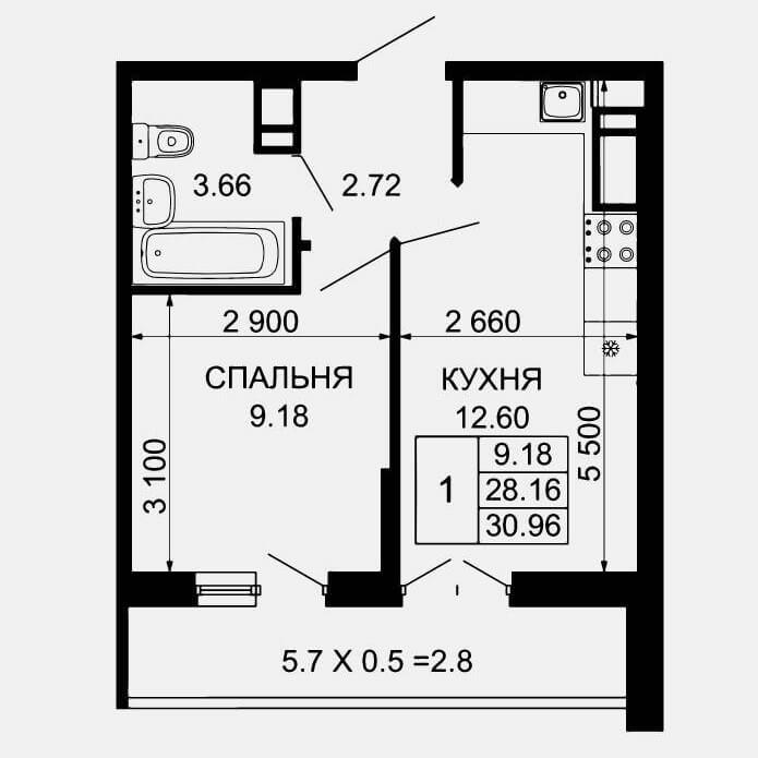 Планировка 1-к квартиры в ЖК Лучший Тип 1