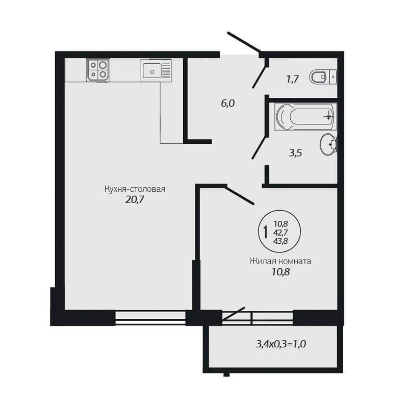 Планировка 1-к квартиры - Тип 2