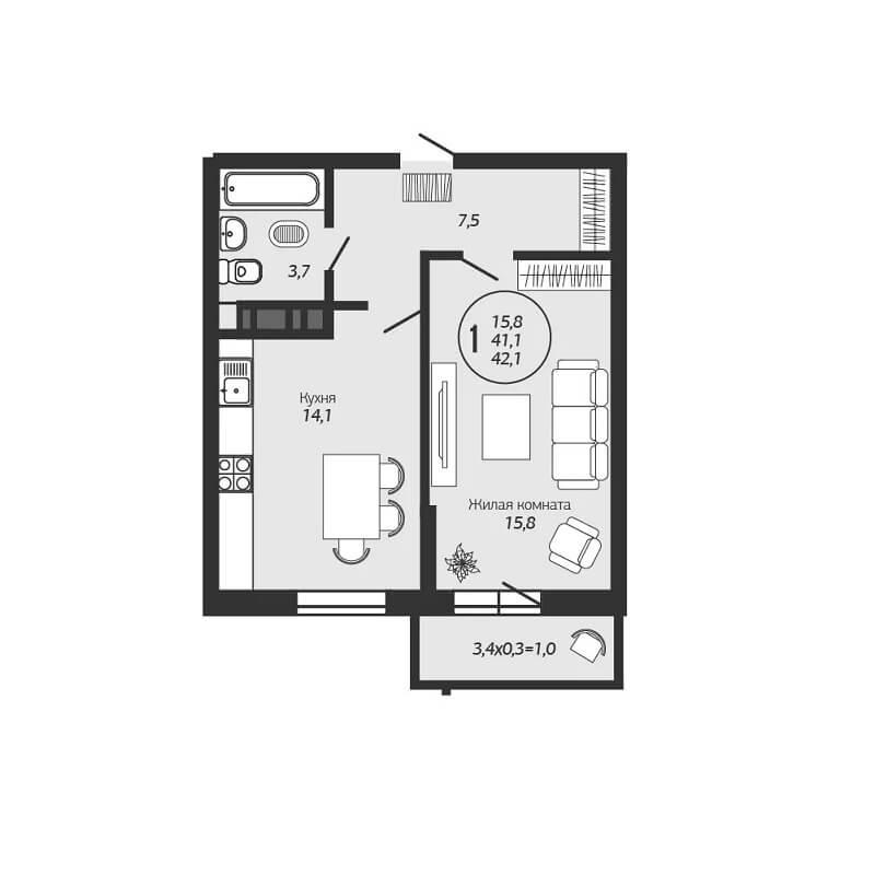 Планировка 1-к квартиры ЖК Премьера - Тип 1