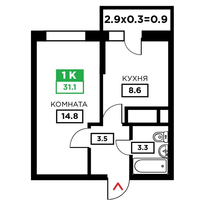 Планировка 1-к квартиры в ЖК Свобода - Тип 1