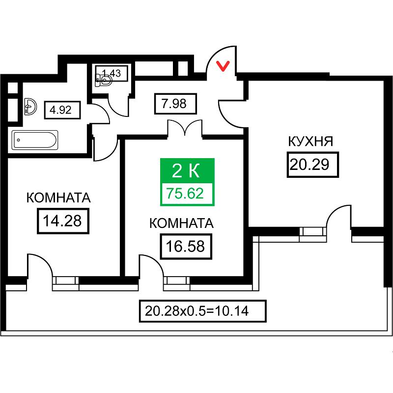Планировка 2-к квартиры в ЖК Время
