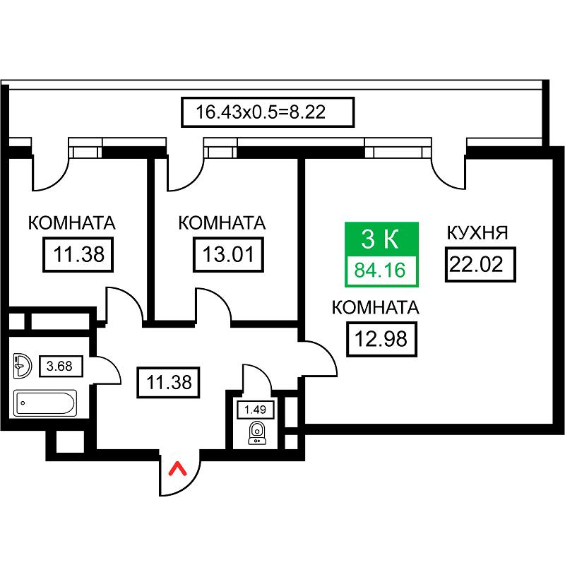 Планировка 3-к квартиры в ЖК Время