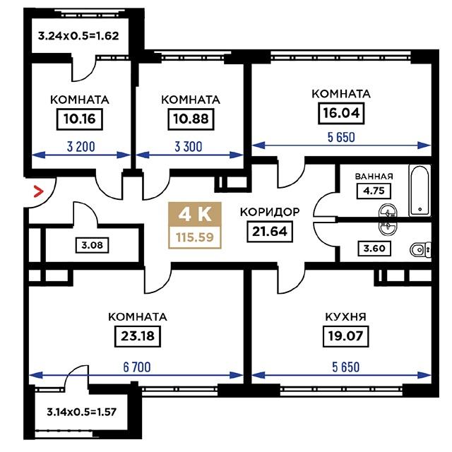 Планировка 4-к квартиры в ЖК Сердце