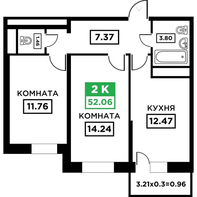 Планировка 2-к квартиры в ЖК Поколение - Тип 2