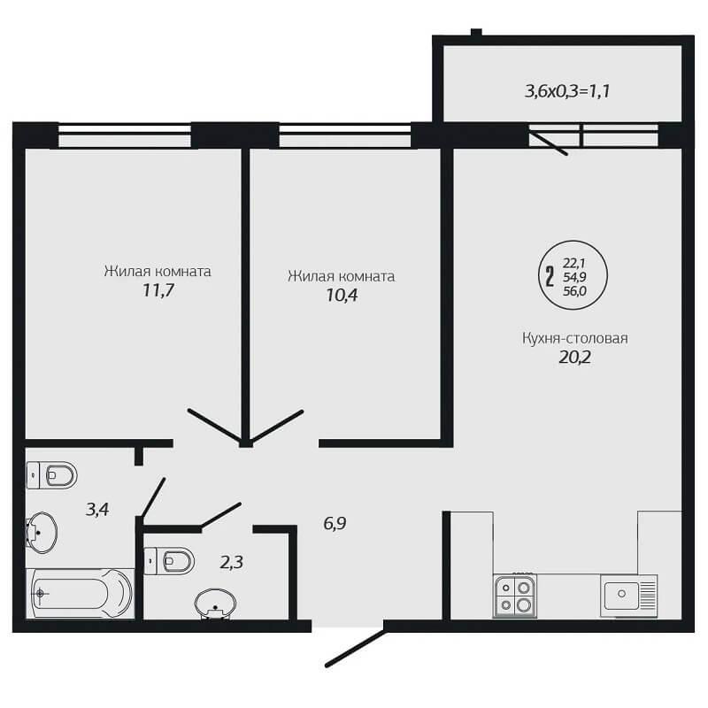 Планировка 2-к квартиры ЖК Премьера - Тип 1