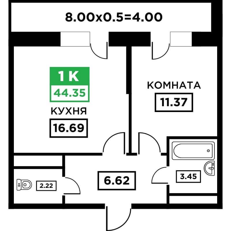 Планировка 1-к квартиры в ЖК Поколение - Тип 3