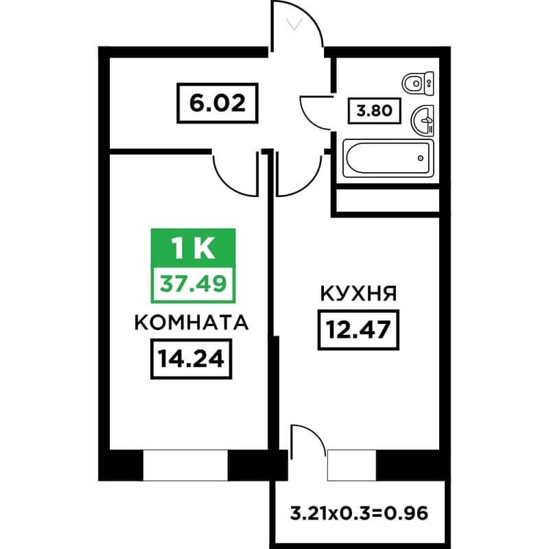 Планировка 1-к квартиры в ЖК Поколение - Тип 1