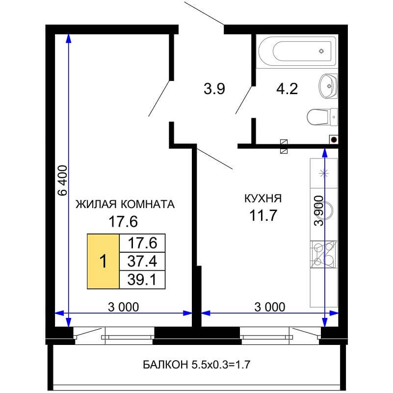 Планировка 1-к. кв., S = 39,10 / 17,60 м²