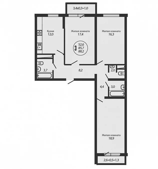 Планировка 3-к квартиры