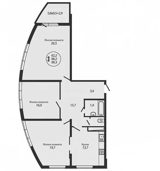 Планировка 3-к квартиры - Тип 2