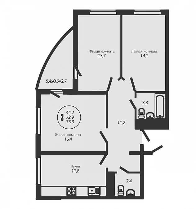 Планировка 3-к квартиры - Тип 4