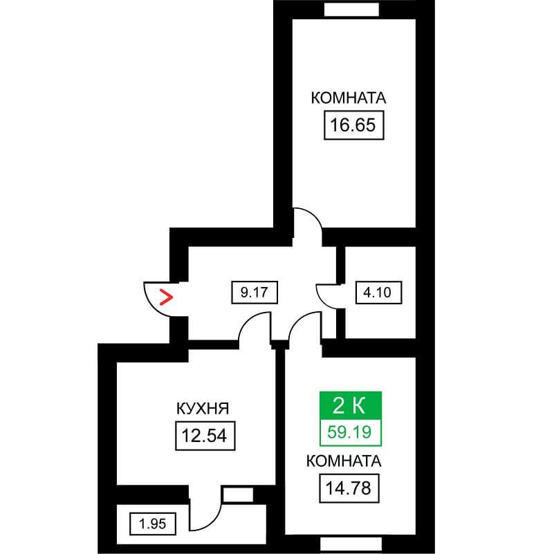 Планировка 2-к. кв., S = 59,19 м² - Тип 2