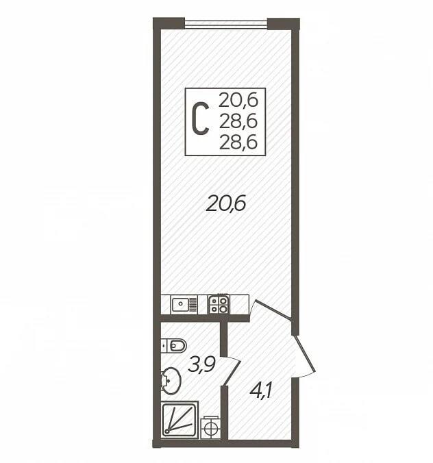 Планировка студии, S = 28,60 / 20,60 м2