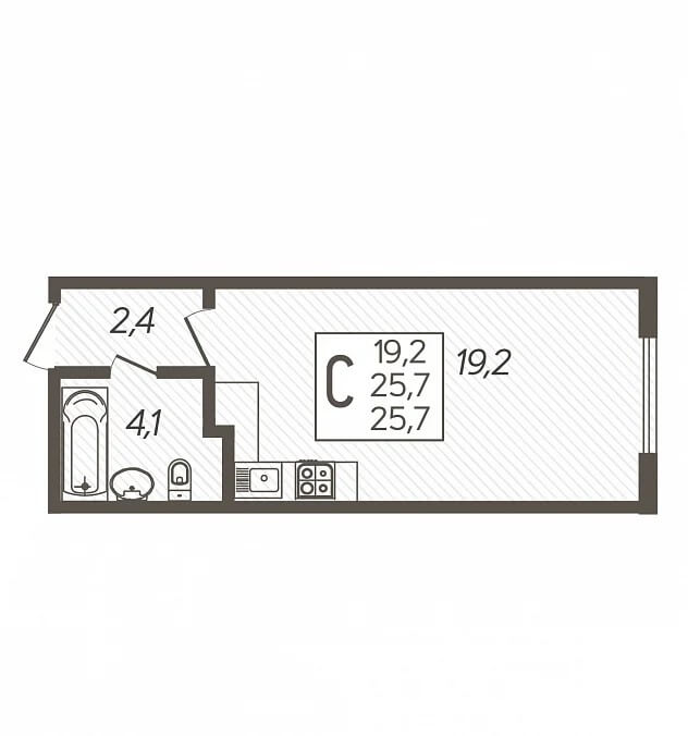Планировка студии, S = 25,70 / 19,20 м2 - Тип 2