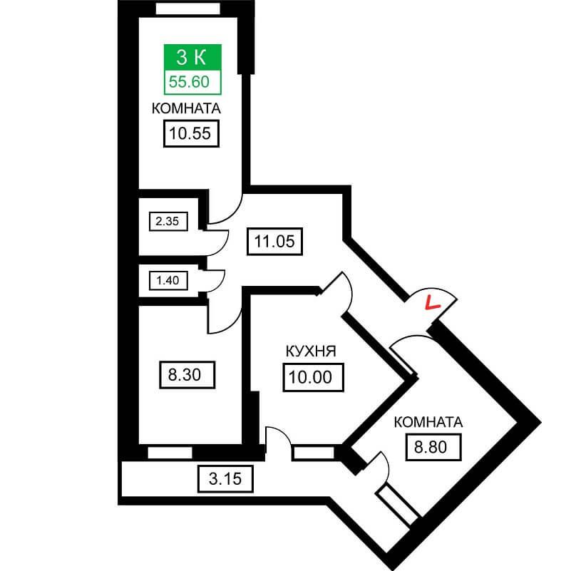 Планировка 3-к. кв., S = 55,60 м²