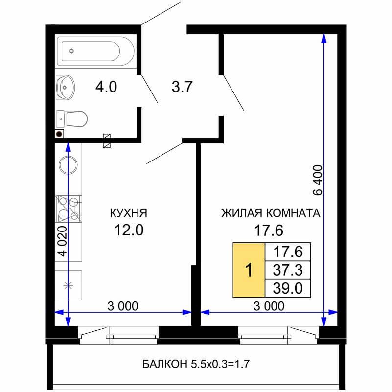 Планировка 1-к. кв., S = 39,00 / 17,60 м²