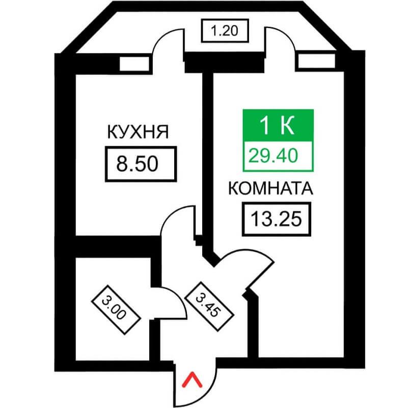 Планировка 1-к. кв., S = 29,40 м²