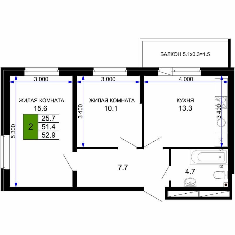 Планировка 1-к. кв., S = 52,90 / 25,70 м²