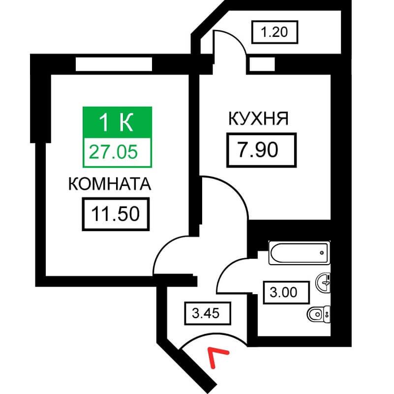 Планировка 1-к. кв., S = 27,05 м² - Тип 2