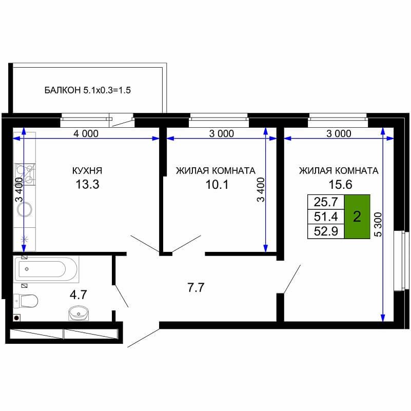 Планировка 1-к. кв., S = 52,90 / 25,70 м² - Тип 2