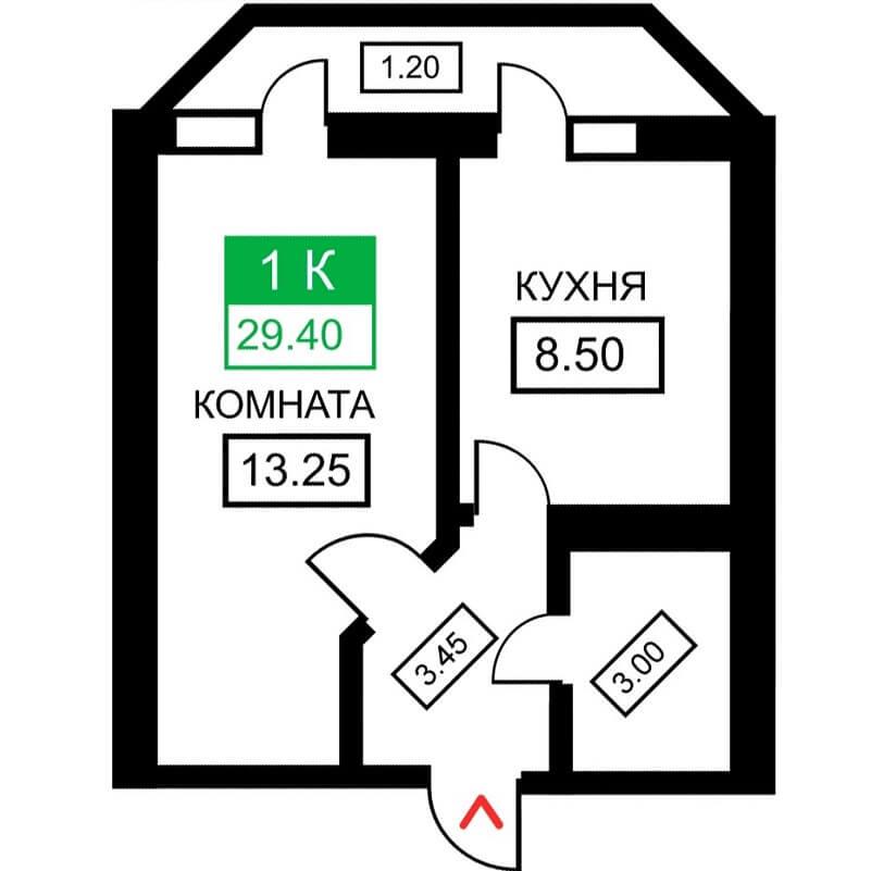 Планировка 1-к. кв., S = 29,40 м² - Тип 2