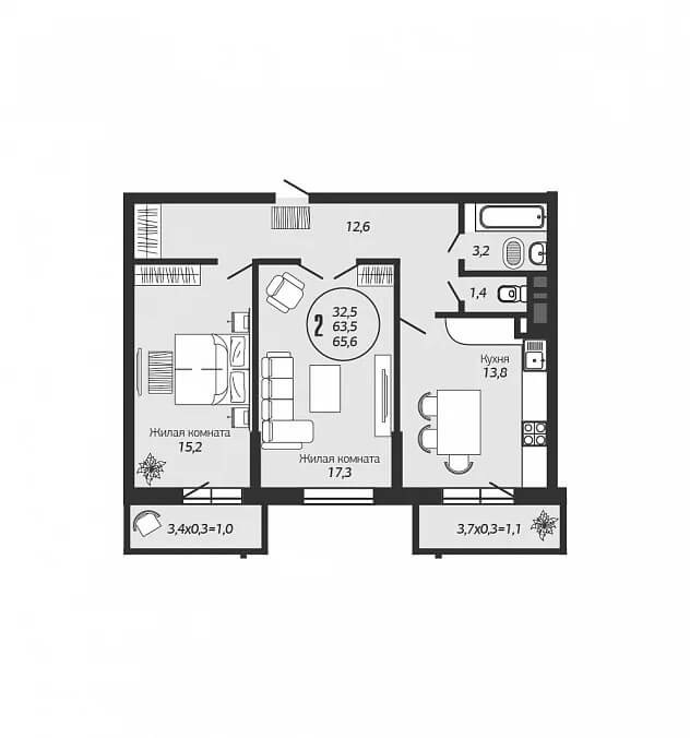 Планировка 2-к квартиры в ЖК Ясный - Тип 2
