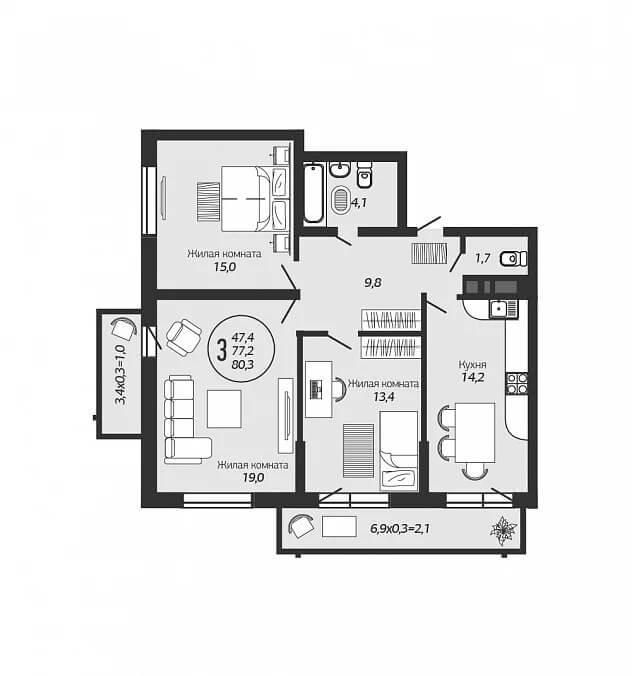 Планировка 3-к квартиры в ЖК Ясный