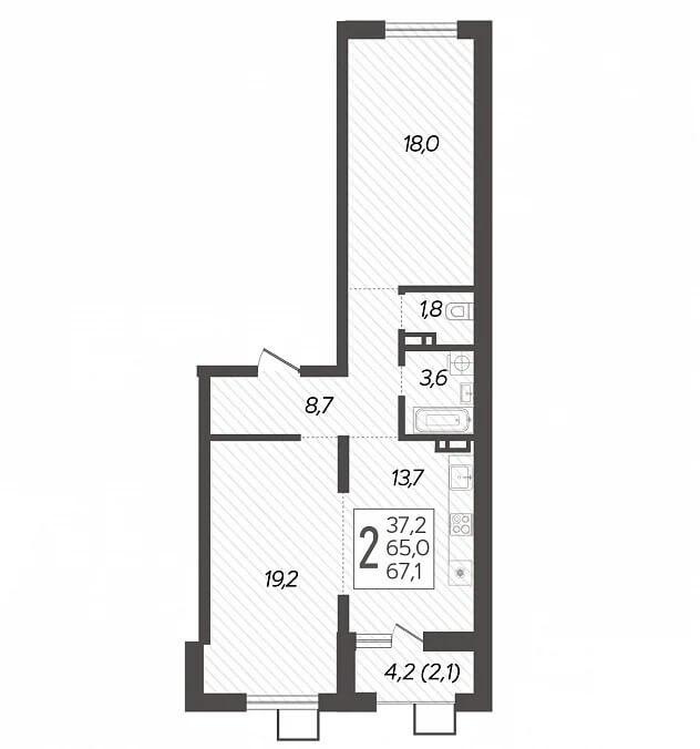 Планировка 2-к кв., S = 67,1 / 37,2 м2