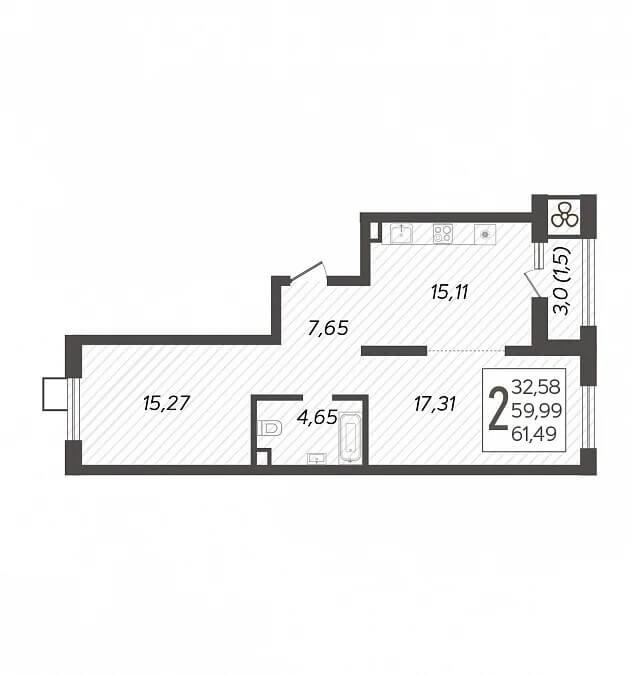 Планировка 2-к кв., S = 61,49 / 32,58 м2