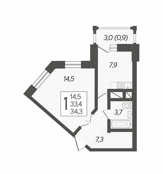 Планировка 1-к кв., S = 34,30 / 14,50 м2 - Тип 2