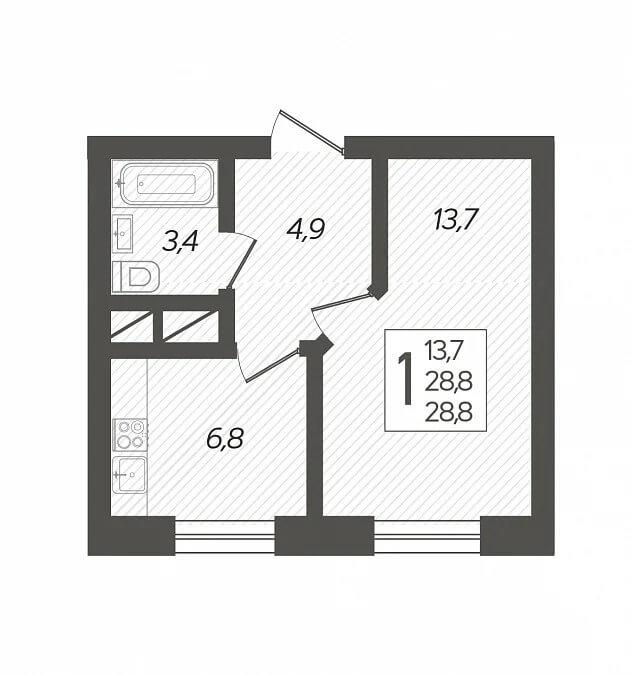 Планировка 1-к кв., S = 28,80 / 13,70 м2