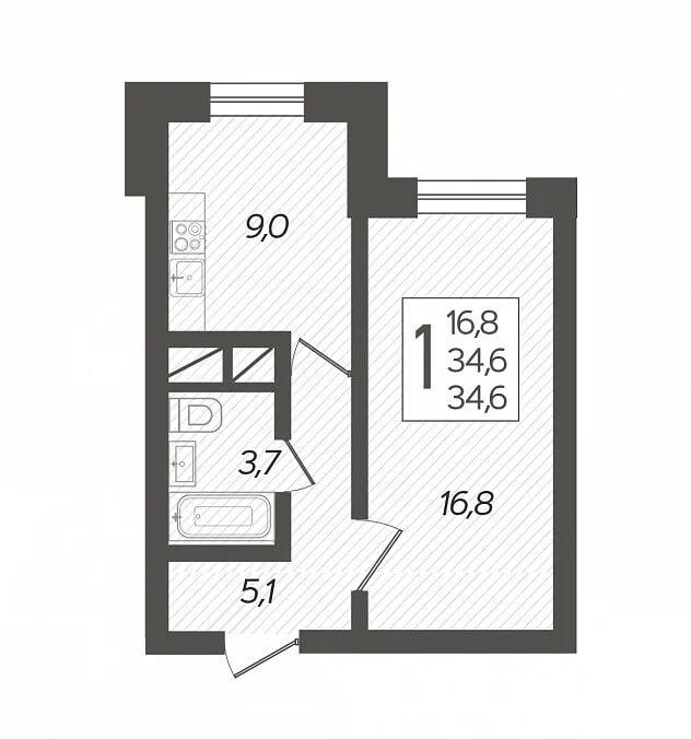 Планировка 1-к кв., S = 34,60 / 16,80 м2