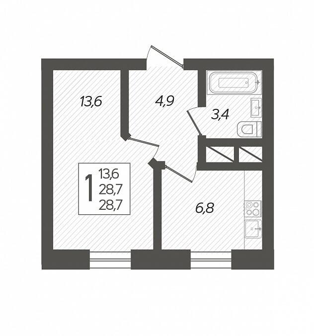 Планировка 1-к кв., S = 28,70 / 13,60 м2