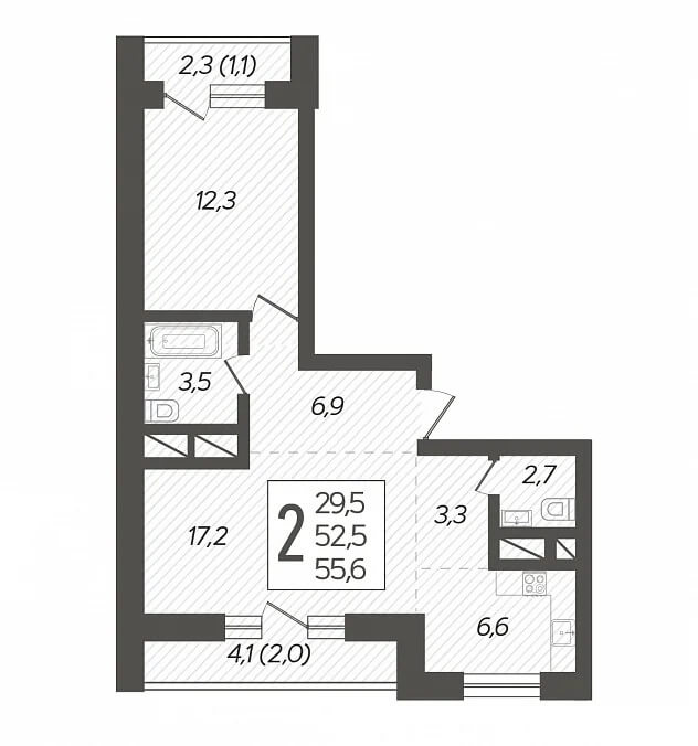 Планировка 2-к кв., S = 56,60 / 29,50 м2