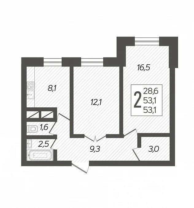 Планировка 2-к кв., S = 53,10 / 28,60 м2