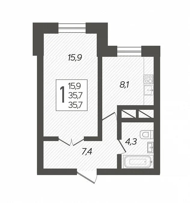 Планировка 1-к кв., S = 35,70 / 15,90 м2