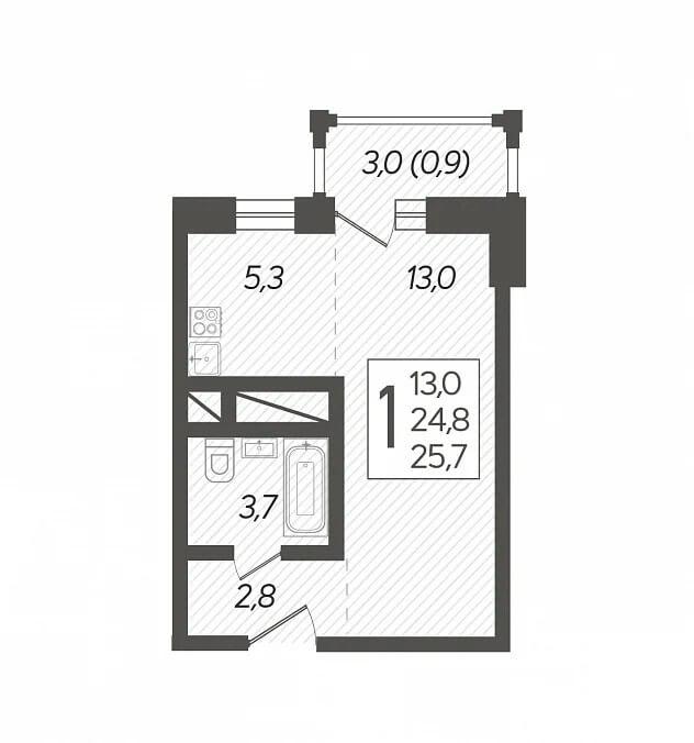 Планировка студии, S = 25,70 / 13,00 м2