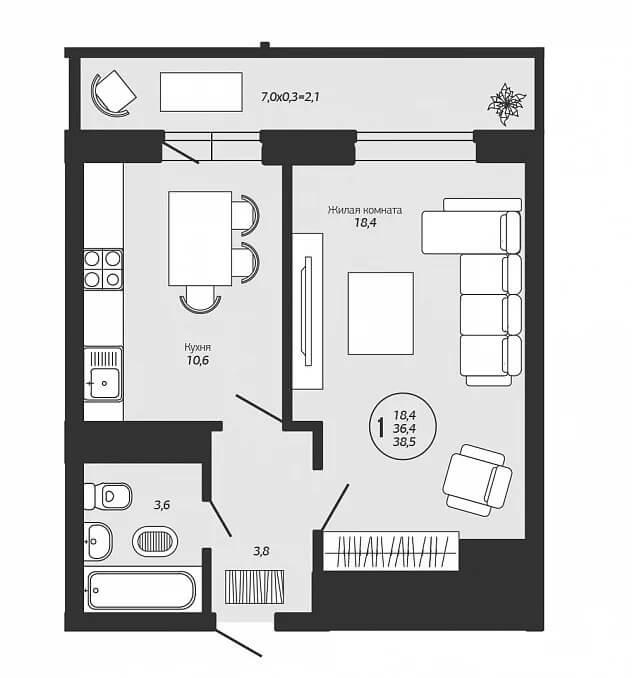 Вариант дизайна 1-к квартиры