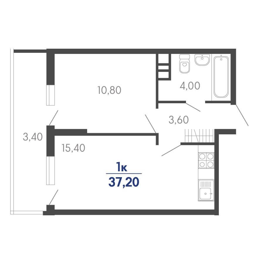 Планировка 1-к. кв., S = 37,20 / 10,80 м²