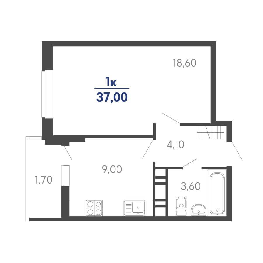 Планировка 1-к. кв., S = 37,00 / 18,60 м²