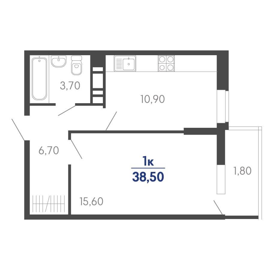 Планировка 1-к. кв., S = 38,50 / 15,60 м² Тип 2