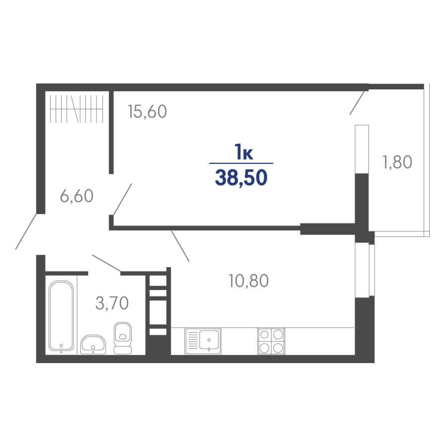 Планировка 1-к. кв., S = 38,50 / 15,60 м²