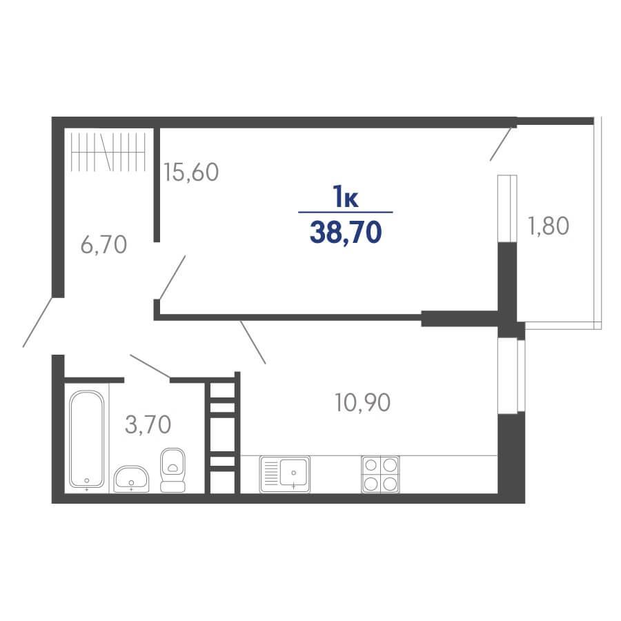 Планировка 1-к. кв., S = 37,80 / 15,60 м² Тип 2