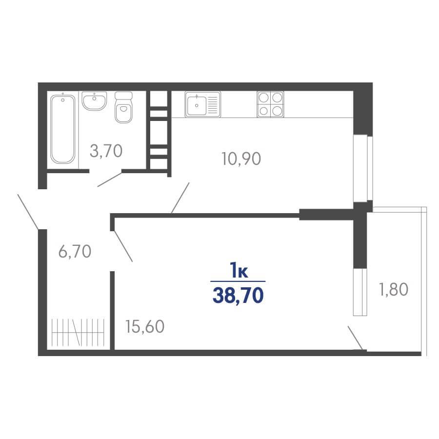 Планировка 1-к. кв., S = 38,70 / 15,60 м²