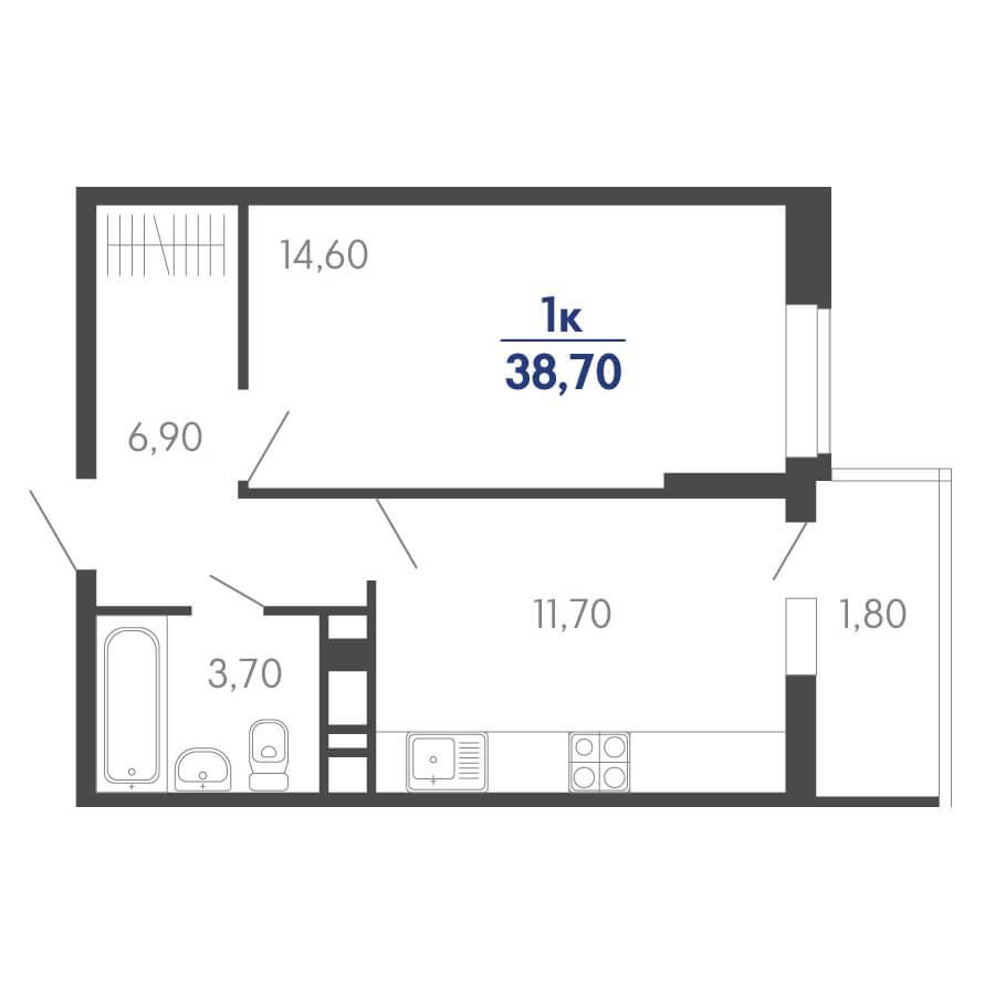Планировка 1-к. кв., S = 38,70 / 14,60 м²