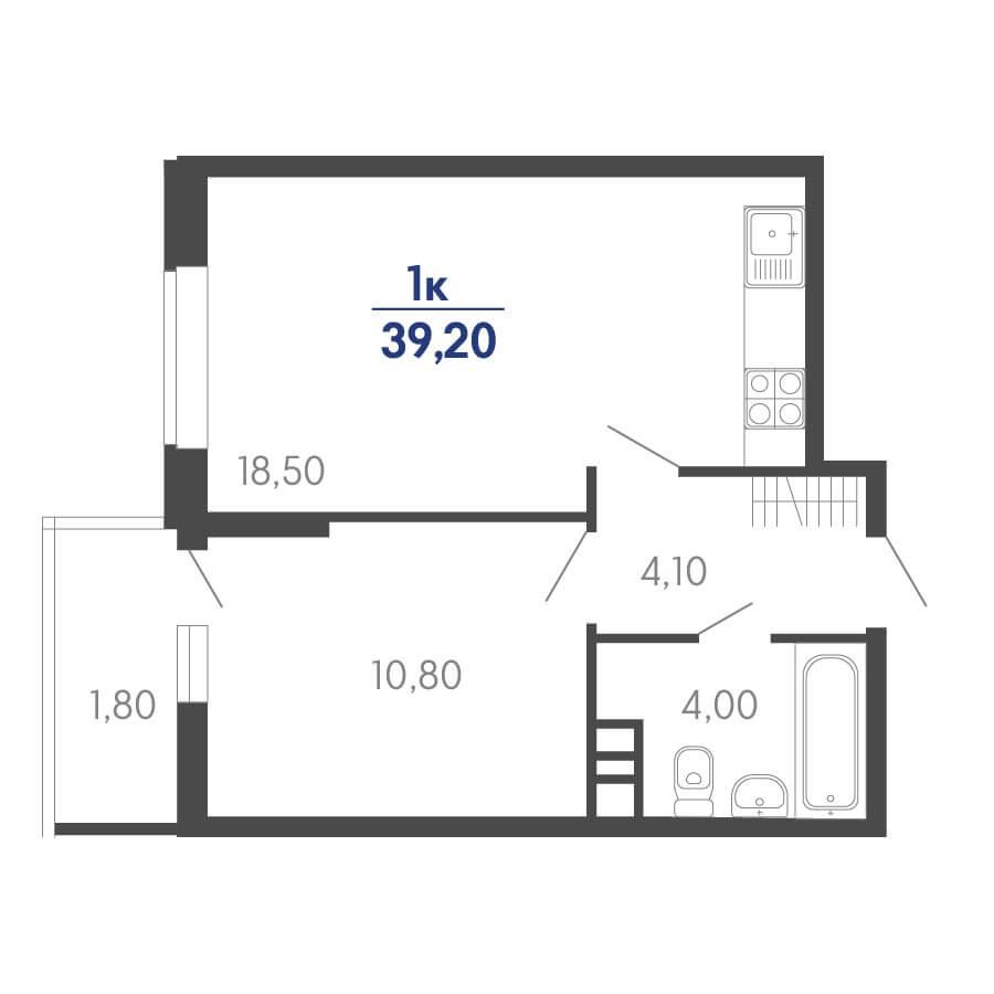 Планировка 1-к. кв., S = 39,20 / 10,80 м²