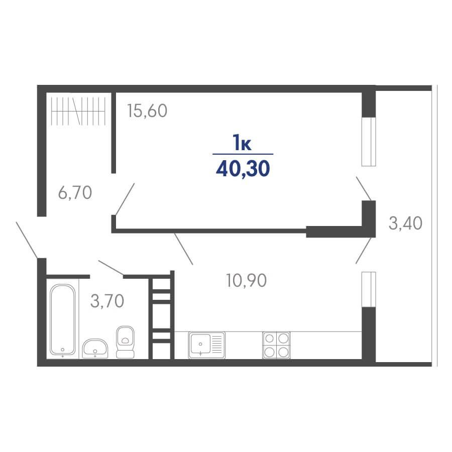 Планировка 1-к. кв., S = 40,30 / 15,60 м²